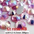 Pegamento En Pedrería de Cristal Para Uñas 288 unids ss30 6.3-6.5mm Luz Rosa AB No Hotfix Flatback de Cristal diamantes DIY Fuentes de La Joyería