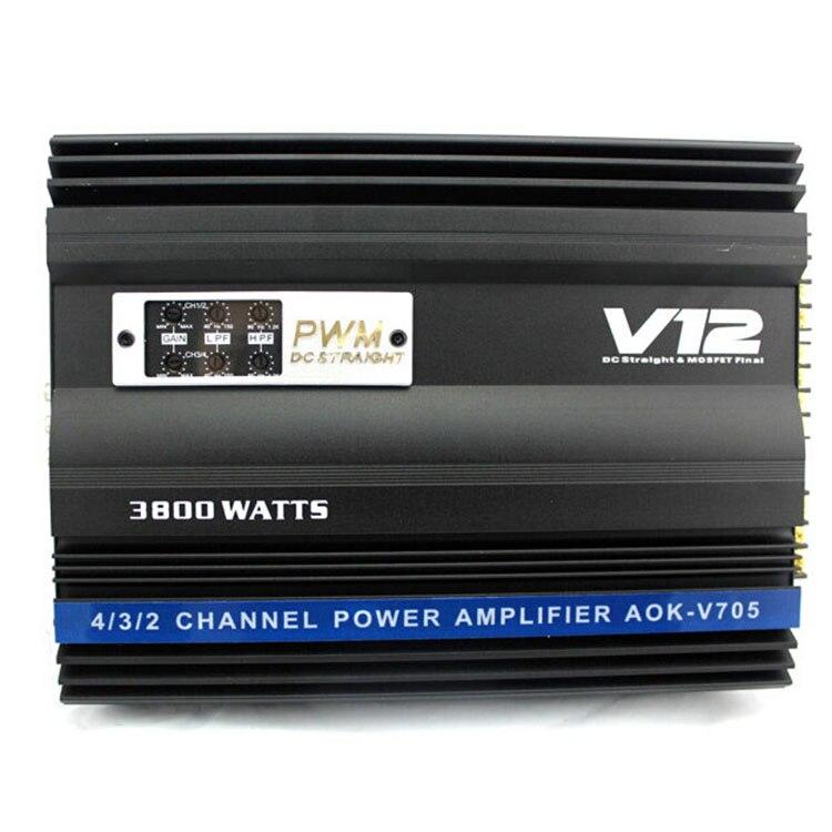 NEW V12 4 channel car audio amplifier 3600W amplifier encoding 4 CH audio high Power amplifier car audio Stereo amplifier