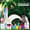 Nail Art Set Manicure Tools 24W UV LED Lamp 6 Color UV Gel Varnishes Base Top