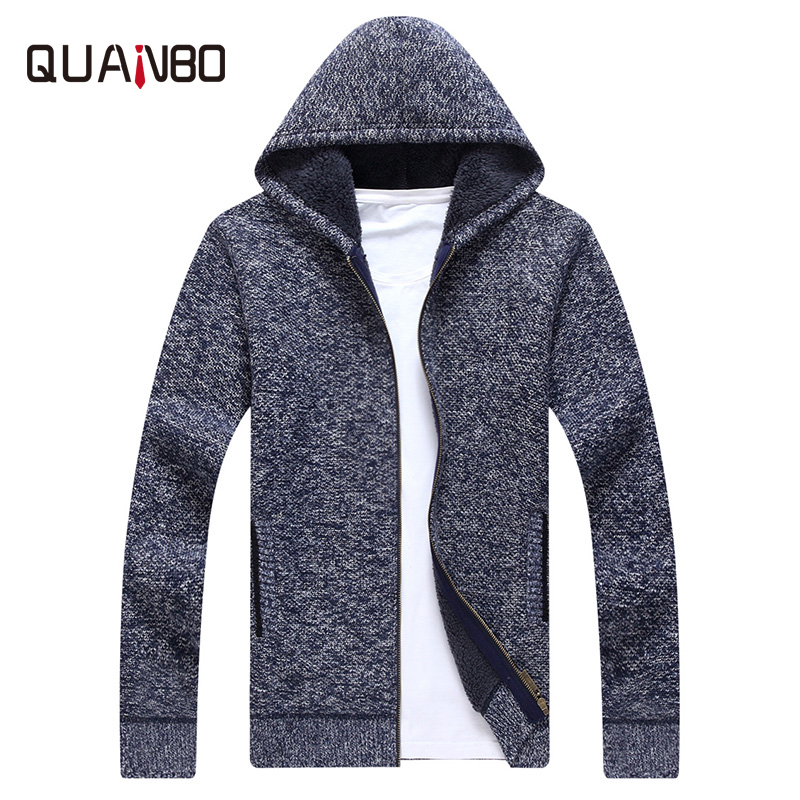 QUANBO New Arrival Autumn Winter Hooded Cardigan Men Fashion Thicker Casual Knitted Wear Slim Fit Men's Brand Clothing M-3XL