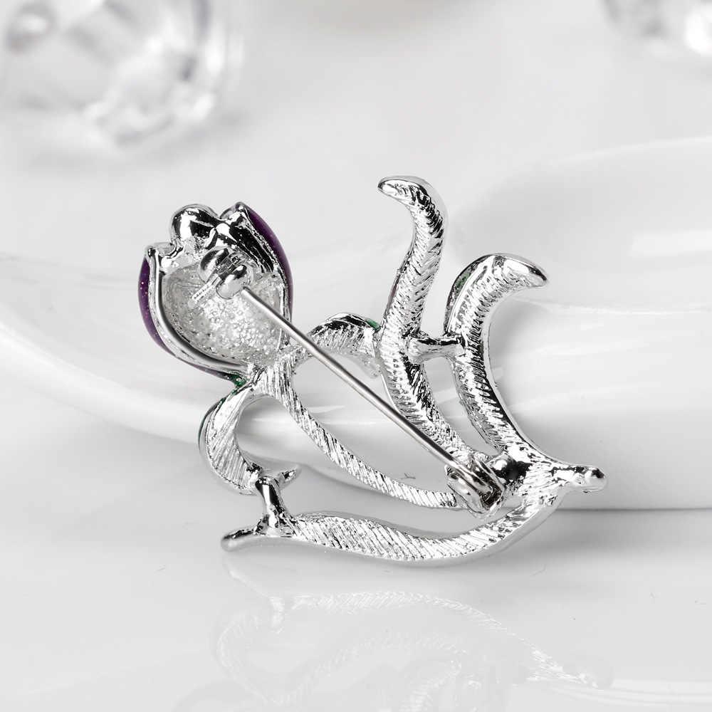 JUJIE Natal Kristal Ungu Enamel Bunga Bros Untuk Wanita Bridal Pernikahan Kerah Tanaman Bros Fashion Perhiasan Gadis