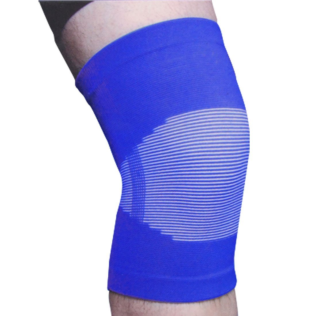 Blue White Stretchy Knee Sleeves Support Wrapper Brace