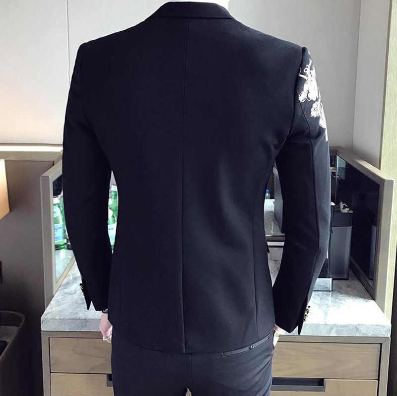 Золото Цветочный принт One Button Blazer куртка Для мужчин 2018 Фирменная Новинка вечерние свадебные фестиваль Стильный тонкий костюм Блейзер Для мужчин костюм Homme