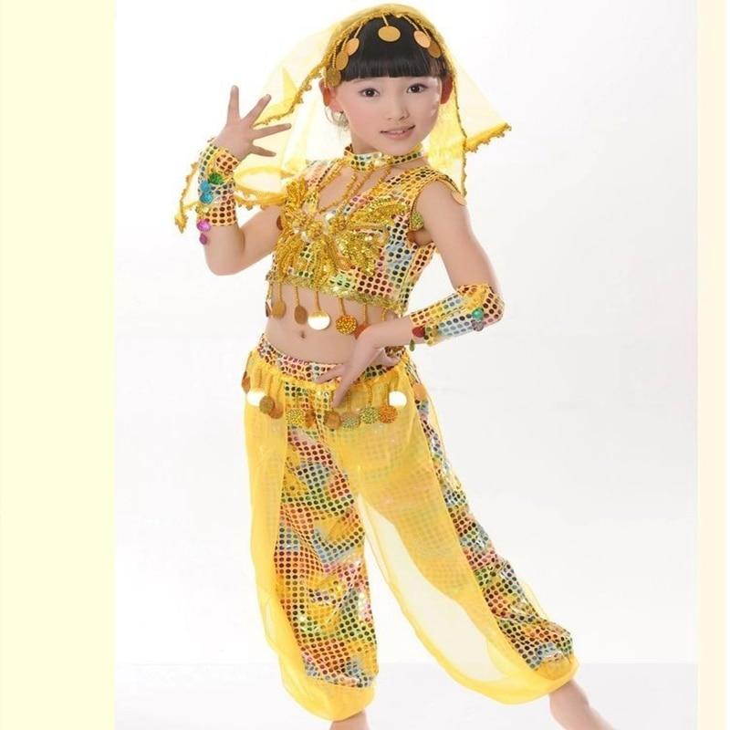 Children Ballroom Dance Clothes Girl Performance Dancewear Women Indian Saree Be