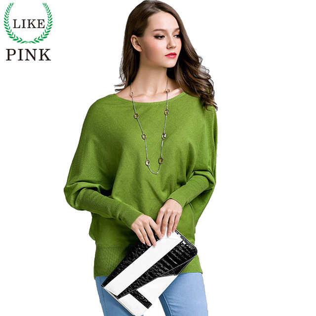 LIKEPINK 2016 Autumn Women Cashmere Pullover Ladies Wool Sweaters Batwing Sleeve Knitted Sudaderas Jerseys Mujer Pull Long Femme