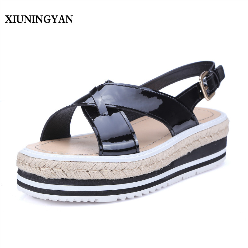 XIUNINGYAN Candy Colors Summer Women Sandals Platform Wedges Sandals Leather Swing Peep Toe Casual Shoes Women Walk Shoes Flats 2018 women sandals fashion peep toe casual slip on sandals women beach summer shoes women wedges platform cover heel sandals