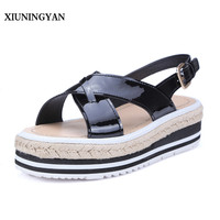 XIUNINGYAN Candy Colors Summer Women Sandals Platform Wedges Sandals Leather Swing Peep Toe Casual Shoes Women
