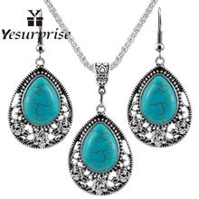 Фотография Yesurprise Women Girls Jewelry Ethnic Bohemian Drip Blue Stone Pendant Necklace with Flower Trim + Earrings Set zk40