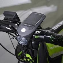LED USB Rechargeable Bike Light Headlight Solar Energy Bicycle