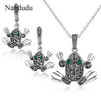 Nandudu Marcasite Gray Crystal Frog Pendant Necklace Earrings Jewelry Sets Fashion Jewelry Gift For Women Girl