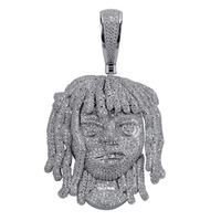 Personalized Lil Pump Pendant Necklace With 10mm Cuban Chain Men Full Iced Out CZ Chains Hip Hop Silver Color Charms Jewelry