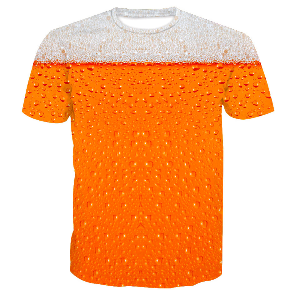 novelty 3d print beer t shirt men orange new summer cool. Black Bedroom Furniture Sets. Home Design Ideas