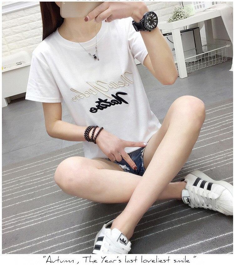 Camisetas de dibujos animados Casual O T-camisa de cuello de moda de las mujeres manga corta agujero mujer T camisa H1