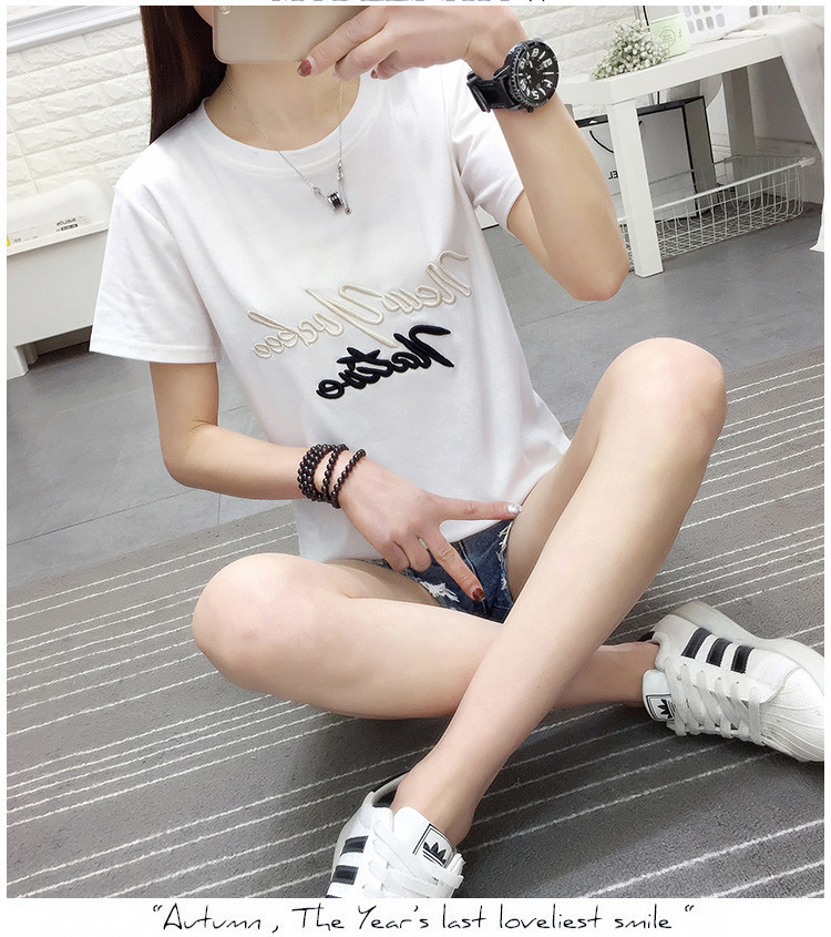 T-shirts Casual Cartoon O Neck T Shirt Frauen Mode Tops Kurzarm Loch Weibliche T Hemd H1