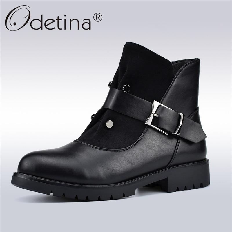 9cf99b9c3f Odetina Nova Moda Outono Inverno Mulheres de Pelúcia Ankle Boots Zip Lado  Patchwork Rebite Fivela Mulheres