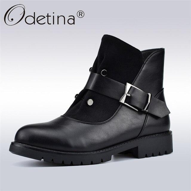 Odetina/Новые модные осенне-зимние женские ботильоны из плюша женские ботинки с заклепками и боковой молнией повседневная обувь на низком каблуке