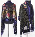 Free Shipping Navy Blue Chinese Women's Velvet Silk Beaded Embroidery Shawl Scarf Peafowl WS-083