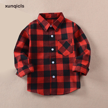 xunqicls 2018 Fashion Baby Boy Plaid Shirt Cotton Long Sleeve Shirts Kids Boys Girls Clothes Children Clothing new boys shirt for kids cotton clothing 2018 fashion new baby boy plaid shirts long sleeve england school trend children clothes