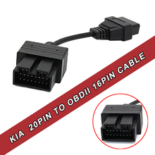 Wholesale Kia 20 Pin To OBD2 Cable Auto Diagnostic Adapter Connector Tool Connector To 16 Pin Good Quality