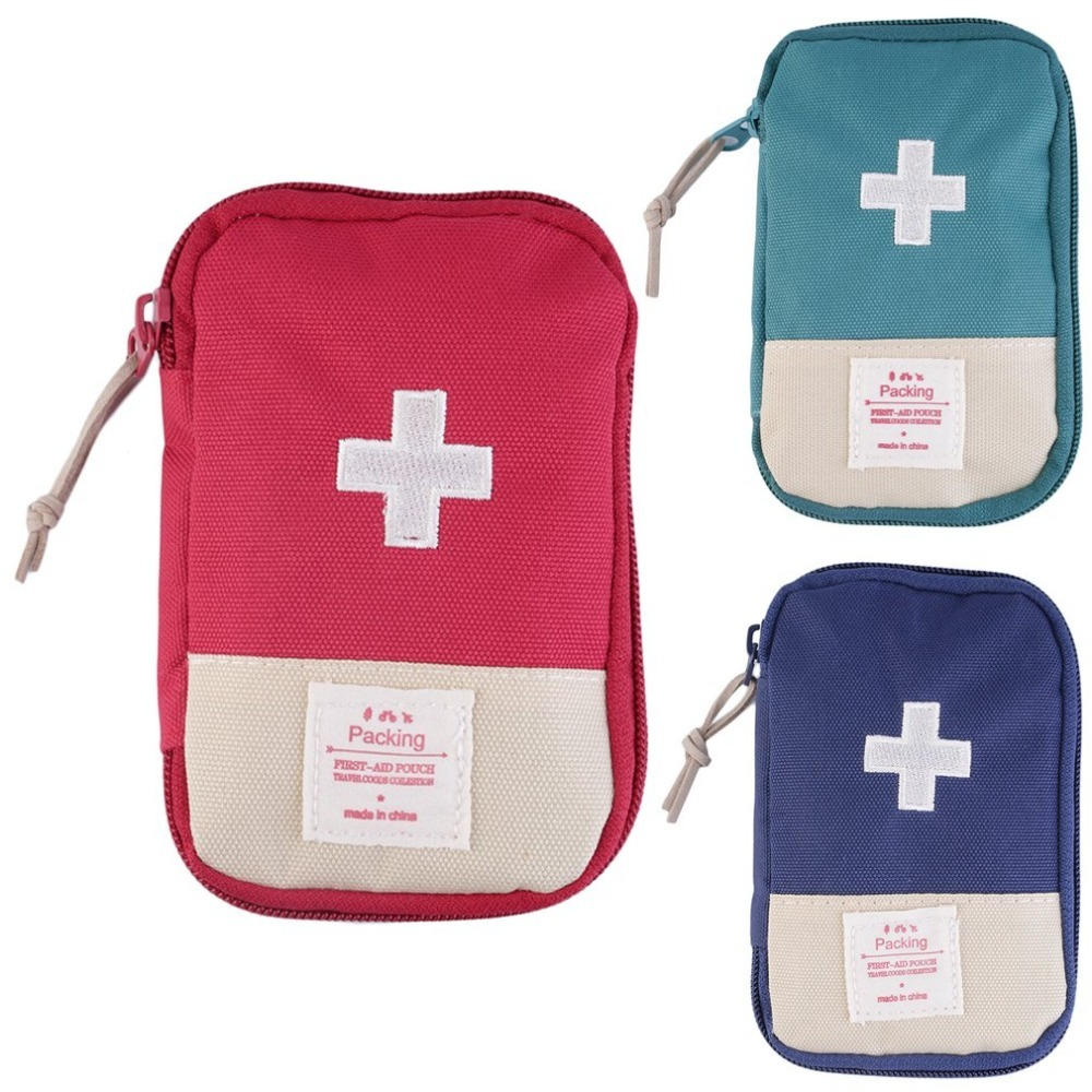 Outdoor Camping First Aid Kit Home Survival Portable Striking Cross Symbol First Aid Bag Case Easy-Carrying Convenient Handle
