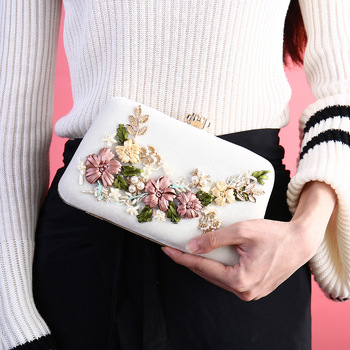 Fashion Velour Women Evening Bags Clutches 2018 Pearl Women Evening Handbag Ladies Flower Party Wedding Bag with Chain Bolsas Clutches