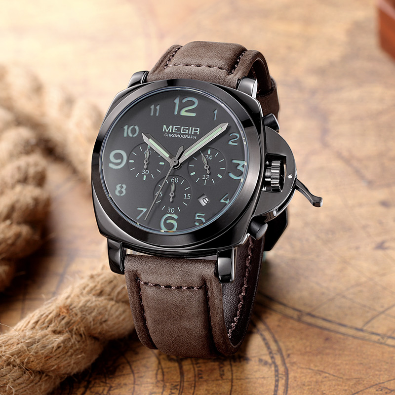 MEGIR Chronograph Luminous Mens Watches Top Brand Luxury Waterproof Men's Sport Quartz Watch Genuine Leather Wristwatches 2016