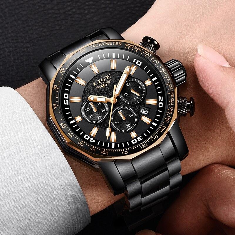 LIGE Hommes de Montre Mâle haut à la mode Marque De Luxe Tout En Acier Militaire montres à quartz Hommes Étanche montre-bracelet de sport Relogio Masculino