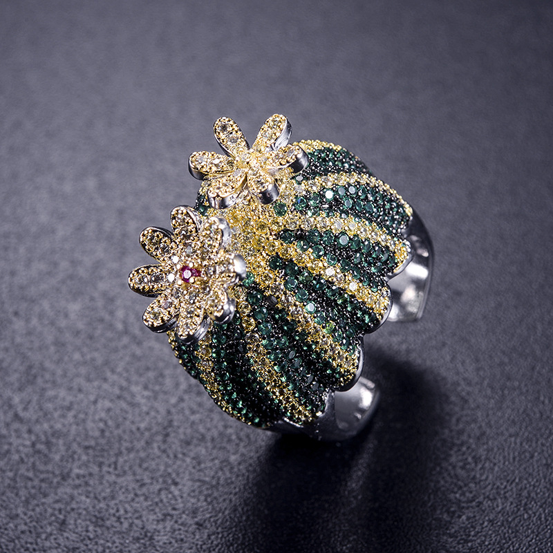 2018 creative new flower can turn cactus ring exaggerated fashion cute temperament opening ring for women