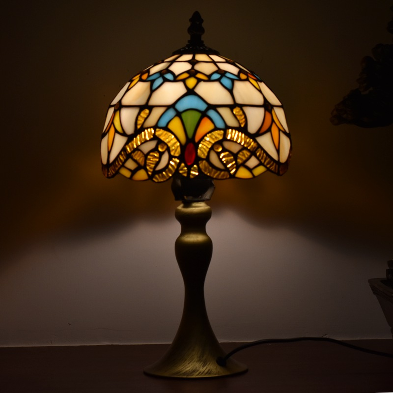 Tiffany Style Lamps Victorian Night Light 8 Inches Small Stained Glass Desk Table Lamp Lighting 15 Inches Height Antique On Sale