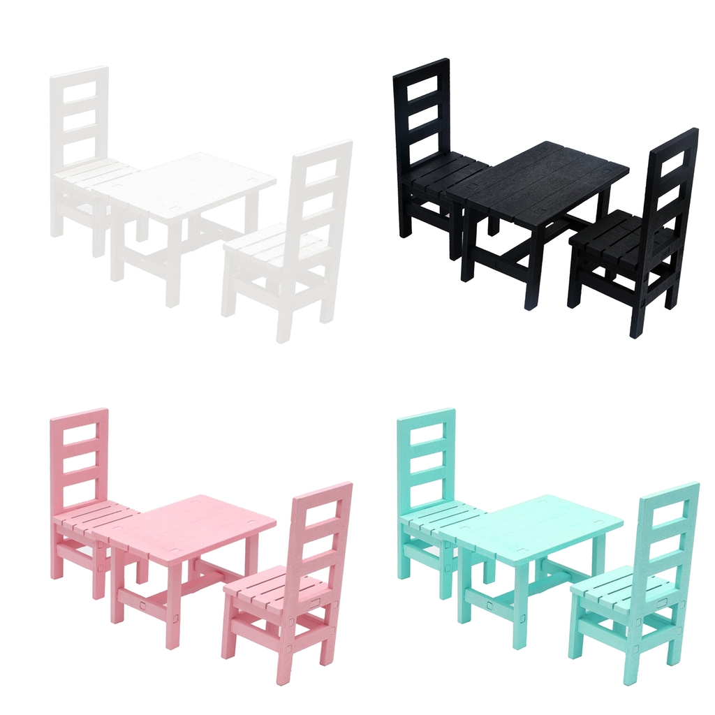 1/6 Miniature Dollhouse Mini Oblong Dining Room Table Chairs Set Kitchen Furniture Accessories