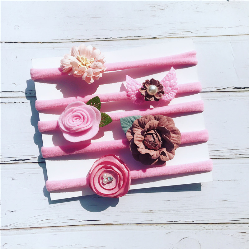 Mother & Kids 5pcs/set Baby Headbands Soft Nylon Flower Hairbands Kids Top Knot Hairband For Photo Props Hair Accessories