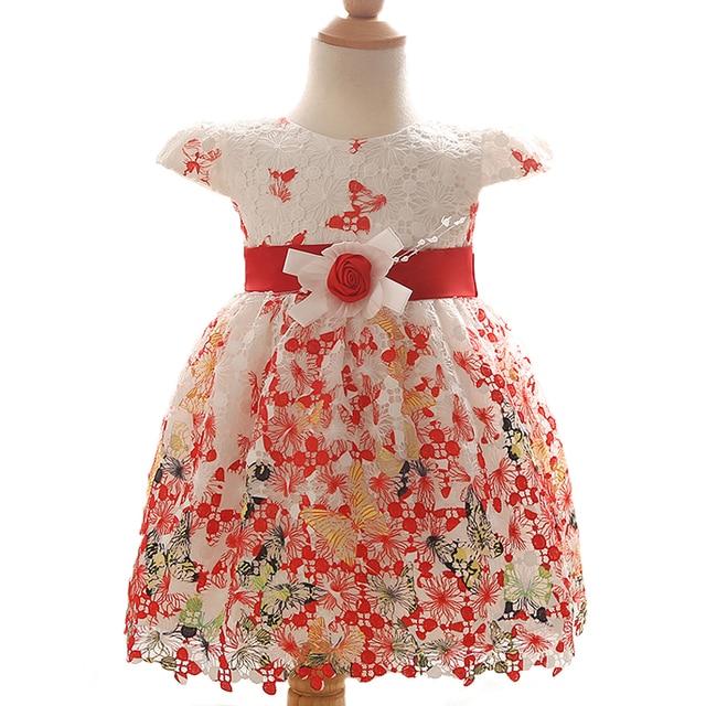 Девочка Лето Dress Кружева Бабочка Печати Ребенка Принцесса Цветок День Рождения Свадьба Dress Младенческой Новорожденных Крещение Платья
