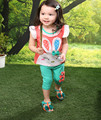 Newborn 2016 toddler baby Girls clothing sets summer 2-piece outfits print t-shirt and pants Kids Clothes Free Shipping