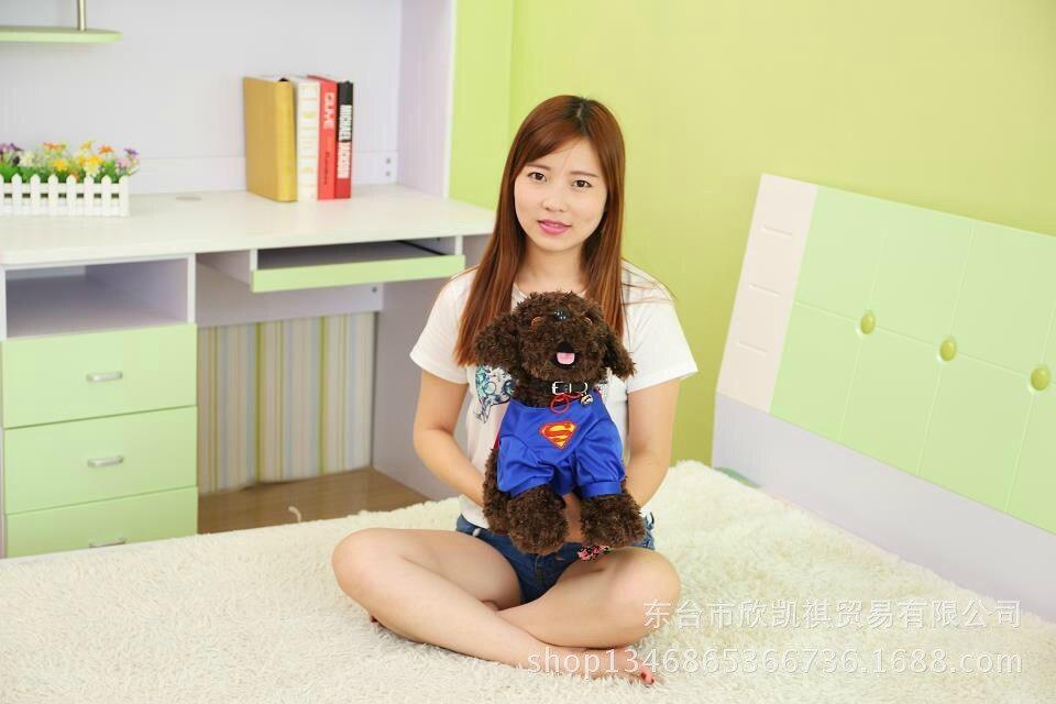 dark brown ted dog plush toy superman dress squatting dog doll birthday gift w5440