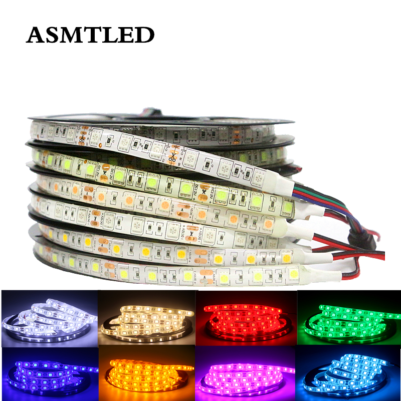 SMD 5050 Flexible LED Strip Light 12V LED Tape Home Decoration Lighting White/Warm White/Blue/Green/Red/Yellow/Pink/Ice Blue/RGB
