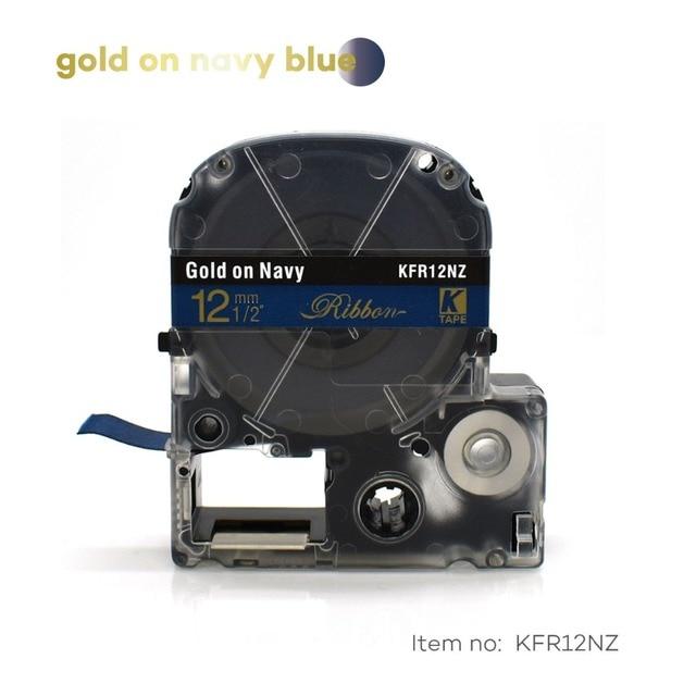 סאטן סרט 12mm זהב על כהה תווית קלטת SFR12NZ LA-4HKK עבור מתנה לחתונה מסיבת חג המולד עבור kingjim מדפסת LW300 LW400