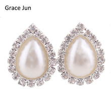 Grace Jun 2017 New Double Oval Water Drop Shape Rhinestone Clip on Earrings Without Piercing Fashion Simulated Pearl Ear Clip