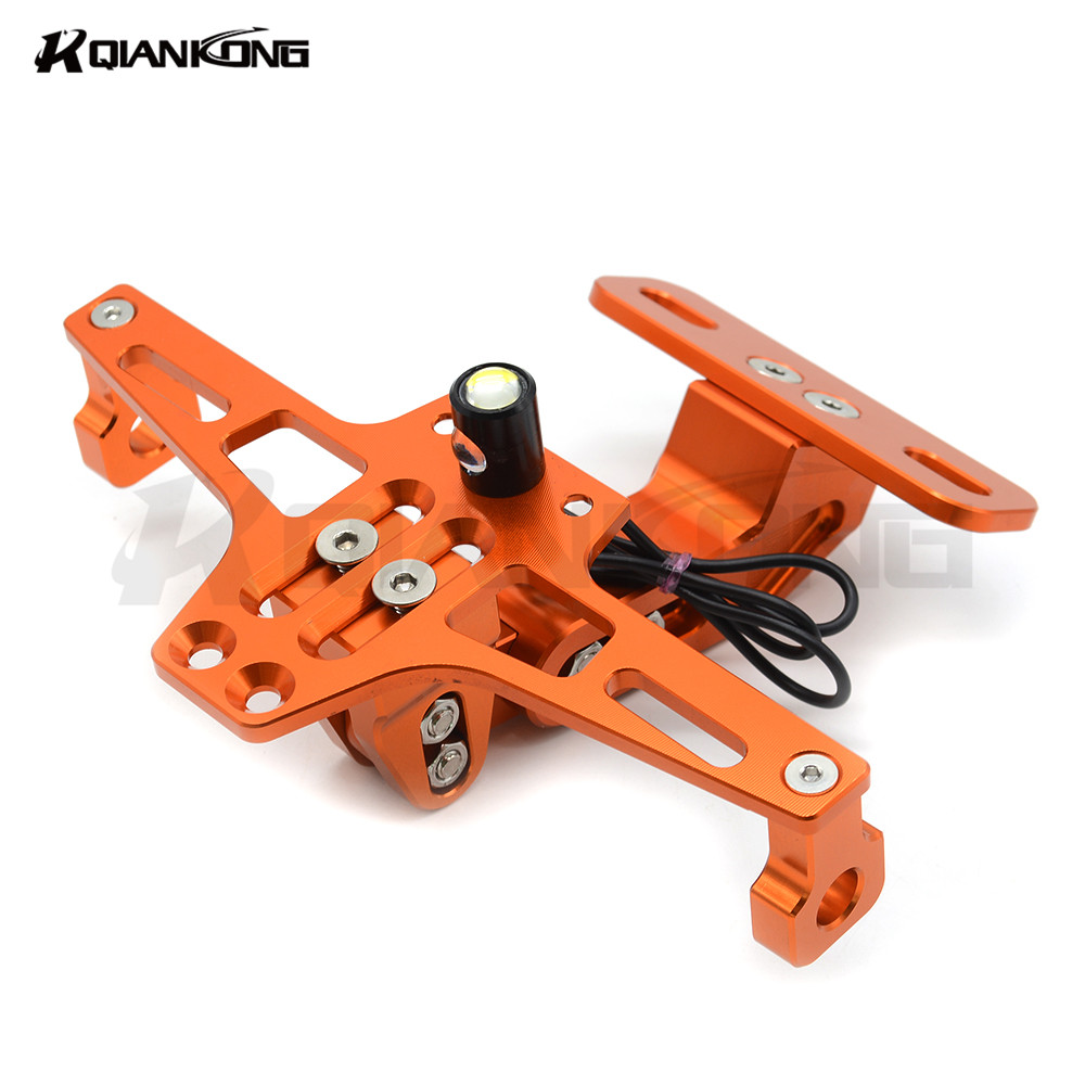 CNC Aluminum Universal Motorcycle License Plate Bracket Licence Plate Holder Frame With light FOR KTM EXC EXC F 125 250 450 500
