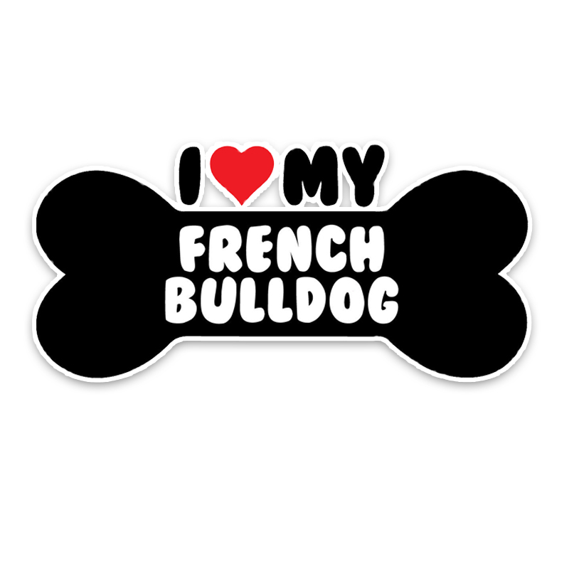 YJZT 15*7.1CM I Heart My French Bulldog Bone PVC Car Bumper Car Sticker Decals C1-4173
