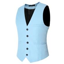 New Mens Waistcoat Vest Autumn Men Slim Shirt Vest For Suit Tuxedo 5 Buttons Male V-neck Luxury Jacket Casual Tank Tops VS01