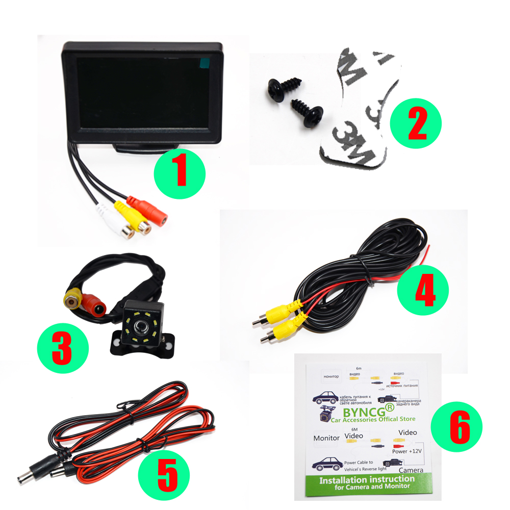 BYNCG Waterproof Car Rear View Camera with 5 inch TFT LCD Rearview Monitor and Night Vision Backup Camera for Easy Reverse Parking 2