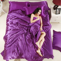 Enipate Comfortable Pure Satin Silk Bedding Home Textile Full Queen King Size Bedclothes Quilt Solid Color