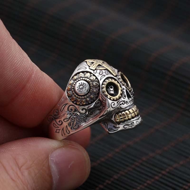 100% pur 925 argent Sterling crâne Vintage anneaux pour hommes rétro croix et soleil Fower gravé Vintage Punk Rock mâle bijoux fins - 2
