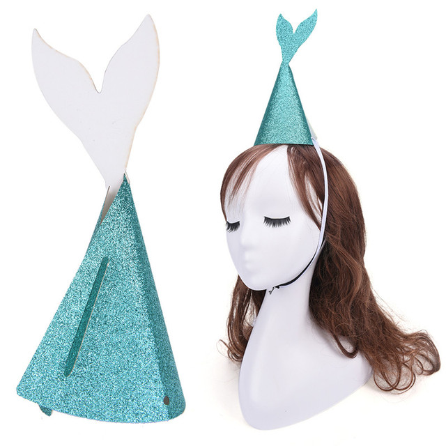 Diy Mermaid Tail Hats Gold Glitter Headdress Wedding Friend Kid S Birthday Party Decorations