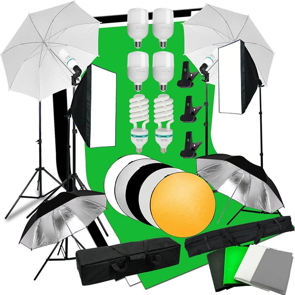ZUOCHEN Photo Studio 6PCS Bulb Softbox Backdrop Umbrella Background Continuous Lighting Kit