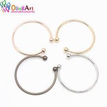 OlingArt 4 pçs/lote 66 MM Simples Do Vintage Bronze/Ródio/KC ouro/Rosa de ouro Contas DIY Pulseiras Europeus pulseira fazer Jóias