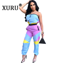 XURU new womens color matching sexy jumpsuit casual wrapped chest backless