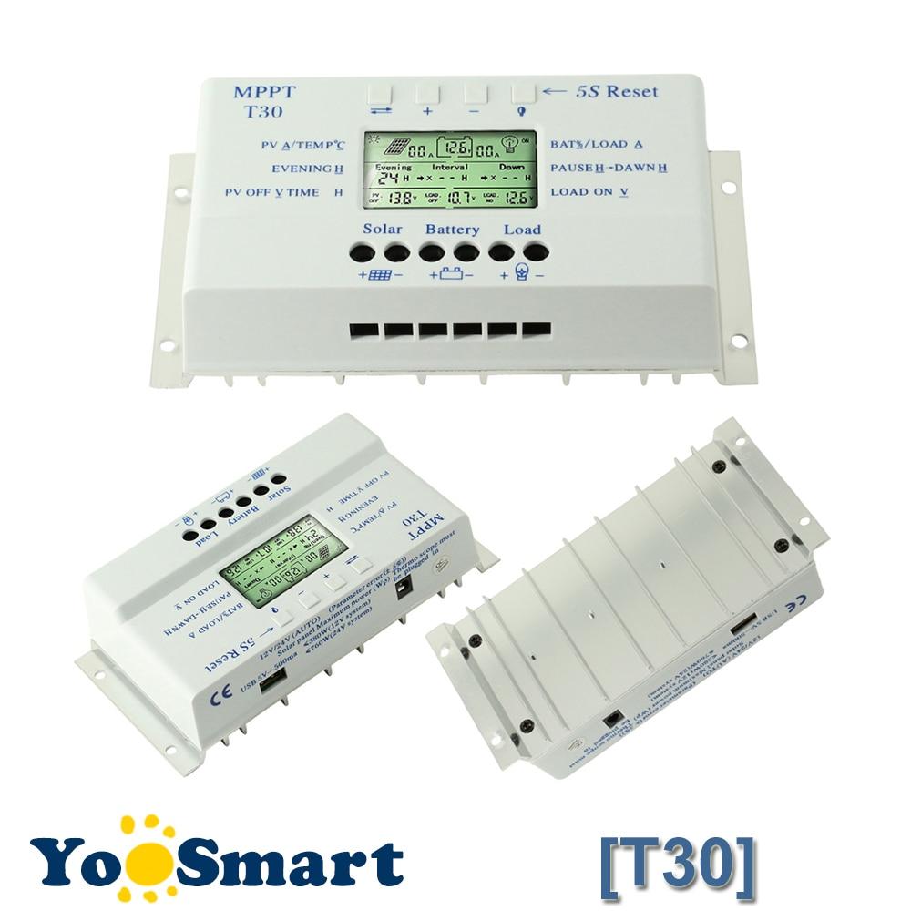 Solar Panel Regulator LCD 10//20//30//40A 12V//24V MPPT Charge Controller 3 Timer MT