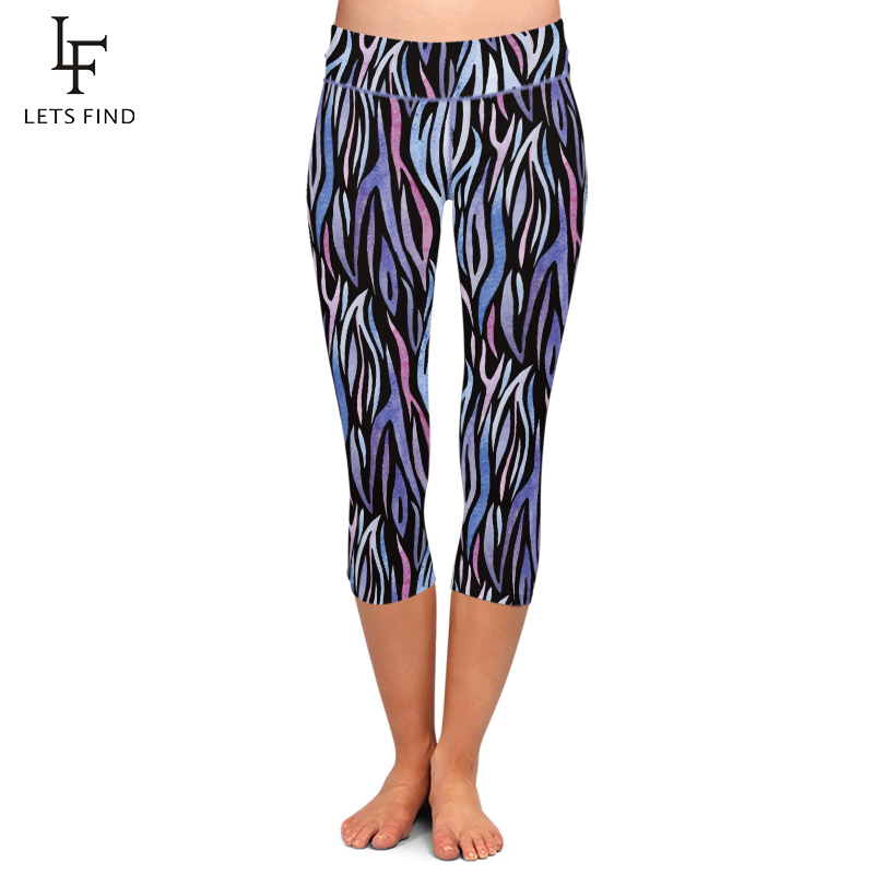 LETSFIND Summer New Sexy Zebra Printed Women Capri Leggings Fashion Fitness Stretch High Waist Plus Size Mid-Calf Women Pants