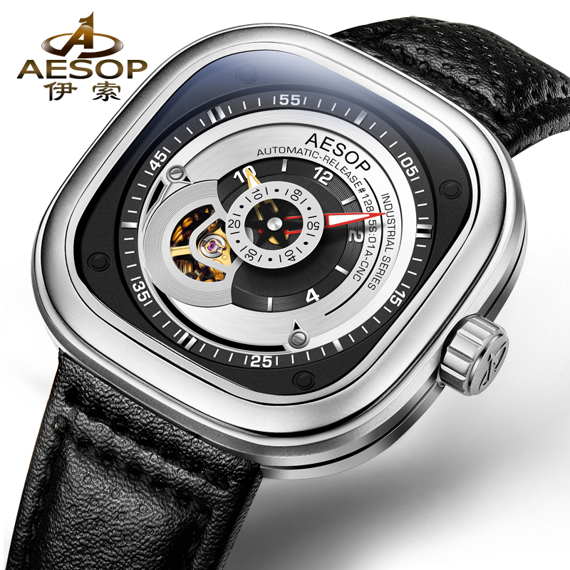 AESOP 9023 Switzerland watches font b men b font luxury brand seven skeleton automatic font b